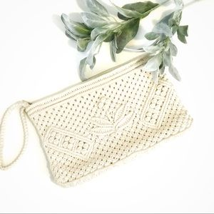 Ivory Macrame Clutch Purse With Strap Woven